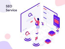 Illustrazione isometrica di servizio di SEO. Stile moderno design piatto per sito Web e sito Web mobile. Illustrazione vettoriale