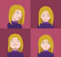Set di avatar colorati di personaggi vettore