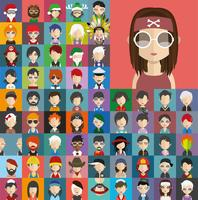 Collezione di avatar di vari personaggi maschili e femminili vettore