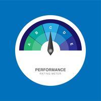 Valutazione del misuratore di prestazioni Illustrazione vettoriale creativo del misuratore di soddisfazione del cliente.