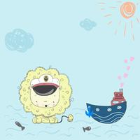 Piccolo marinaio leone bambino