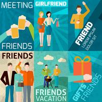 set di mini poster di amici vettore