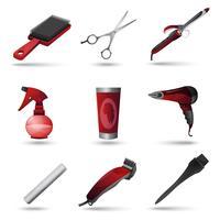 Set di icone di parrucchiere vettore