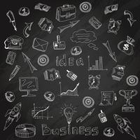 Schizzo del gesso della lavagna delle icone di strategia aziendale