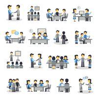 Set di icone piane di riunione