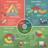 Manifesto piatto infografica logistico in tutto il mondo