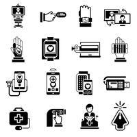 Icone della medicina digitale nere