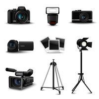 Icone realistiche della fotocamera vettore