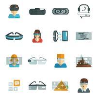 Occhiali virtuali piatti vettore