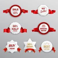 Etichette di vendita di carta rossa vettore