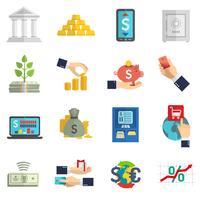 Set di icone del sistema bancario vettore