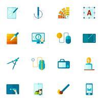 Icone di design grafico piatte vettore