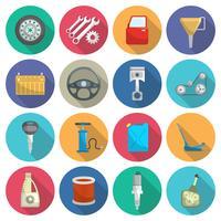 Set di icone piatte di manutenzione del servizio auto vettore