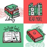 Insieme di concetto di design di libri