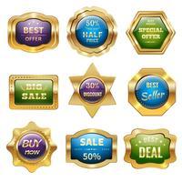 Distintivi di vendita d'oro vettore