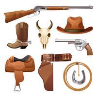 set di elementi da cowboy vettore