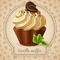 Etichetta di muffin alla vaniglia