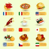 Set di cibo mondiale vettore