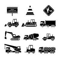 Macchine da costruzione nere vettore