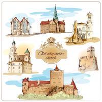 Schizzo della città vecchia colorato vettore