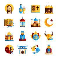Set di icone di religione vettore
