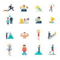 Icone di motivazione piatte vettore