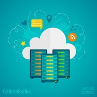 concetto di hosting piatto vettore