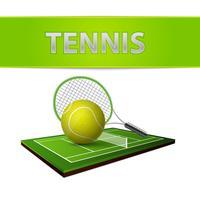 Emblema del campo di erba verde e della pallina da tennis vettore