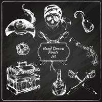 Set di icone di lavagna pirati