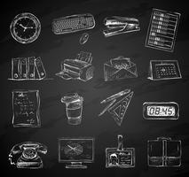 Set di icone di forniture di cancelleria ufficio affari