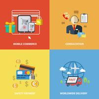Shopping elementi di e-commerce vettore