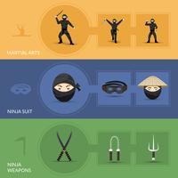 Set di bandiere ninja vettore