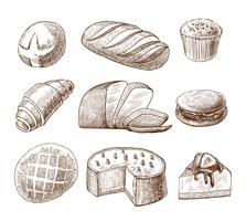 Set di icone decorative di pane e pasticceria vettore