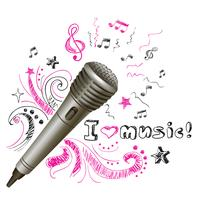 Microfono doodle musicale