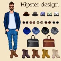 Elementi ragazzo Hipster vettore