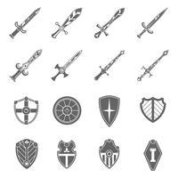 Set di icone di emblemi di spade di scudo vettore