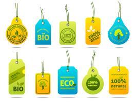 Etichette di cartone di ecologia vettore