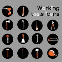 Set di icone di strumenti di lavoro del carpentiere vettore