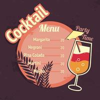 Cocktail alcolici bere modello di scheda del menu vettore