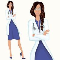 Medico della giovane donna vettore