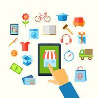 Shopping a mano concetto di e-commerce