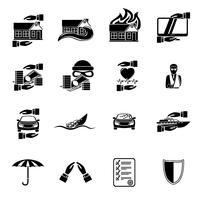 Set di icone di sicurezza assicurativa