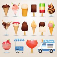 Icone del fumetto del gelato impostate vettore