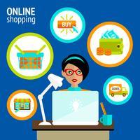 Concetto di acquisto online del computer portatile della persona vettore