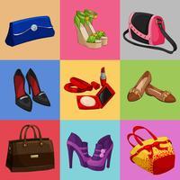 Collezione di borse e accessori per borse da donna vettore