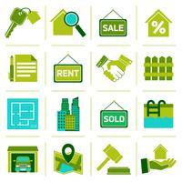 Immobiliare icone verde vettore