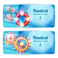 Set di banner orizzontali marini vettore