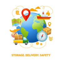 Illustrazione di progettazione di concetto globale logistico