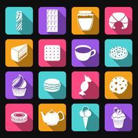 Set di icone piane di dolci