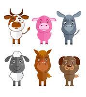 Set di icone di animali selvatici e domestici vettore